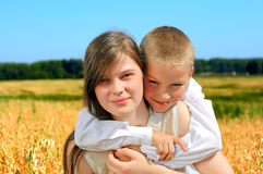 Chłopiec I nastoletnia dziewczyna Obraz Stock