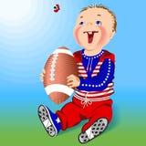 Chłopiec i rugby piłka. Obraz Stock