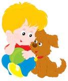 Chłopiec i szczeniak ilustracji