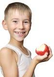 chłopiec jabłczana czerwień Zdjęcia Stock