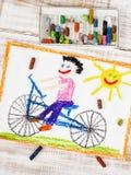 Chłopiec jazdy rower Zdjęcia Royalty Free