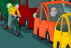 Chłopiec jazdy roweru otwarcia drzwiowy samochód Obrazy Stock
