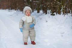 Chłopiec jeden roczniak w ciepłej zimie odziewa Obrazy Stock