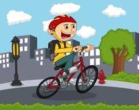 Chłopiec jedzie bicykl z miasta tła kreskówką Zdjęcie Royalty Free