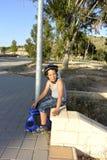 Chłopiec jedzie Monowheel zdjęcia stock