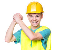 Chłopiec jest ubranym żółtego ciężkiego kapelusz Zdjęcia Royalty Free