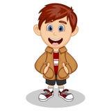 Chłopiec jest ubranym brown kurtkę i czerń skróty uśmiecha się kreskówkę ilustracja wektor