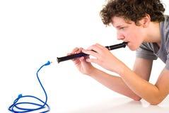 chłopiec kablowa piszczałki sieć Zdjęcie Royalty Free
