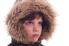chłopiec kapiszon śliczny owłosiony Obraz Royalty Free