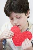 chłopiec karta jego przyglądający s valentine Obraz Stock