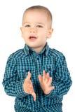 Chłopiec klascze ręki Zdjęcia Royalty Free