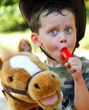 chłopiec koń Fotografia Royalty Free
