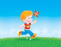 chłopiec koloru bieg koło Obrazy Royalty Free