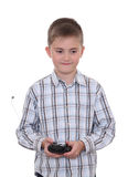 chłopiec kontrolera pilot Fotografia Stock