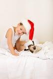 chłopiec kota boże narodzenia jego czekanie Obraz Royalty Free