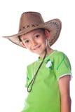 chłopiec kowboja zieleni kapeluszowy mały koszula t target257_0_ Zdjęcie Royalty Free