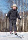 chłopiec kraju krzyż krzyżuje skok narty zdjęcie stock