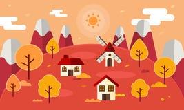 chłopiec kreskówka zawodzący ilustracyjny mały wektor Jesieni krajobrazowy tło z jesień liśćmi, mieszkanie styl jesień spadek las fotografia royalty free