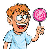 chłopiec kreskówki łasowania odosobniony lollypop Obrazy Stock
