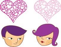 chłopiec kreskówki dziewczyny miłość Zdjęcie Royalty Free