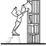 Chłopiec książkowy biblioteczny czytanie ilustracja wektor