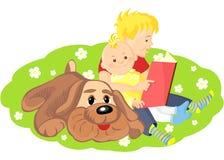 chłopiec książkowy brat jego czytanie royalty ilustracja