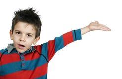 Chłopiec która wskazuje palec obraz stock