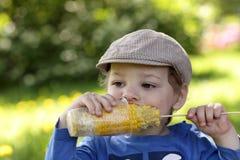 Chłopiec kukurudzy obraz royalty free