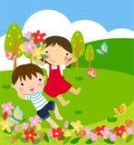 chłopiec kwitnie dziewczyny ilustracja wektor