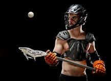 Chłopiec lacrosse gracz target455_0_ piłka oko na piłce zdjęcia stock
