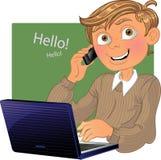 chłopiec laptopu telefon royalty ilustracja