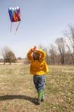Chłopiec latająca kania Obraz Royalty Free