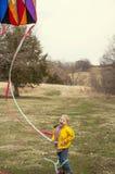 Chłopiec latająca kania Obrazy Royalty Free