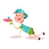 Chłopiec lub dziecko, dzieciak bawić się z zabawka pistoletem ilustracji