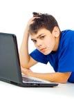 Chłopiec męcząca komputer Zdjęcie Stock