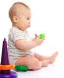 chłopiec małe sztuka zabawki Obrazy Stock