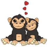 Chłopiec małpy miłości małpy dziewczyna ilustracji