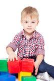 chłopiec mały podłogowy siedzi fotografia stock