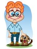 chłopiec mały psi ilustracja wektor