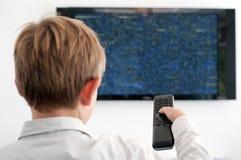 chłopiec mały tv dopatrywanie Zdjęcia Royalty Free