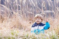 Chłopiec ma zabawę z sitowiem blisko lasowego jeziora Fotografia Stock