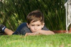 chłopiec martwiąca się Zdjęcia Stock