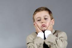chłopiec martwiąca się Zdjęcia Royalty Free
