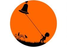 Chłopiec Mazgaije się Bell Obrazy Royalty Free