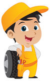 chłopiec mechanik śliczny mały ilustracja wektor