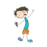 Chłopiec mienia lody - oryginalna ręka rysująca ilustracja Fotografia Royalty Free
