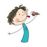 Chłopiec mienia lody - oryginalna ręka rysująca ilustracja Obrazy Stock
