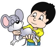 Chłopiec mienia mysz Obraz Royalty Free