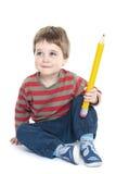 chłopiec mienia ołówek Zdjęcie Stock