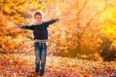 Chłopiec miotania jesieni liście fotografia stock